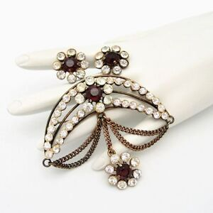 RONCO-STERLING-Silver-Vintage-Red-Crescent-Brooch-Pin-Earrings-Rhinestones-Swag