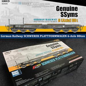 1-35-Sabre-Model-GERMAN-RAILWAY-6-Axle-80t-SSyms-SCHWERER-PLATTFORMWAGEN-35A05