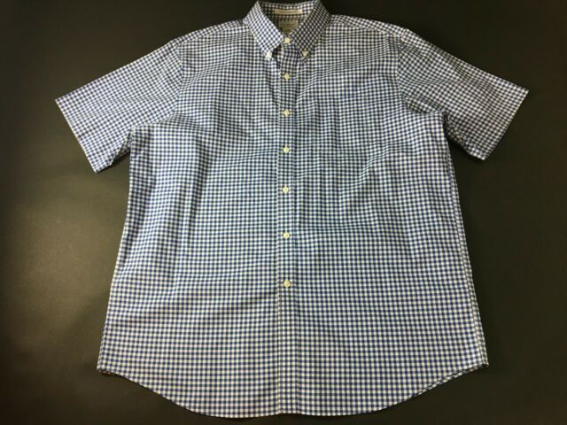 LL Bean Mens Blue Plaid Front Pocket Button Front Shirt Size Large