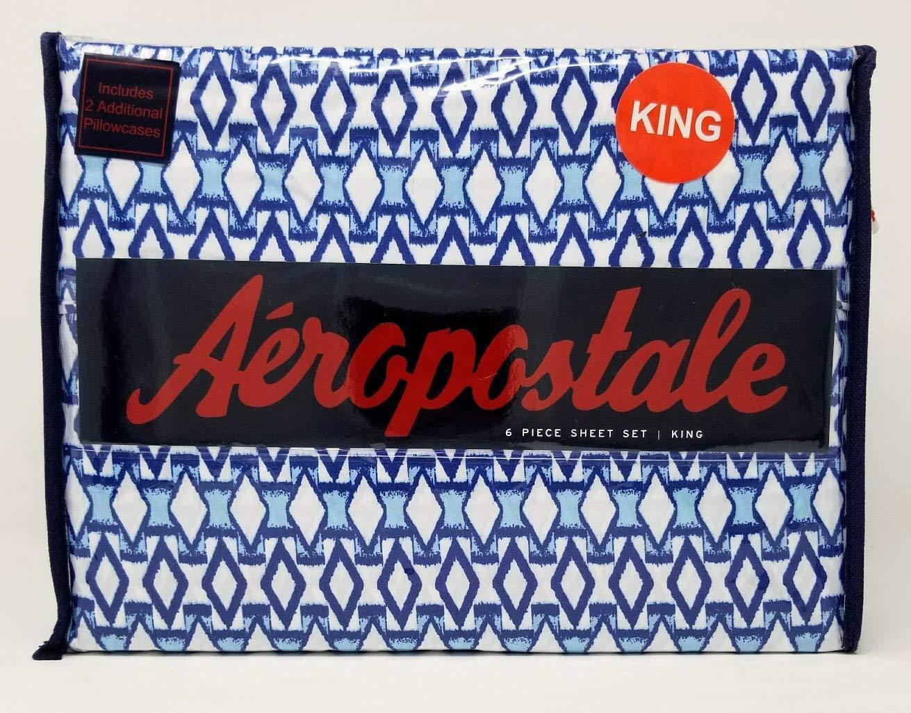 Aeropostale 6pc King Sheet Set Ikat Diamond in Navy, Turquoise, and bianca