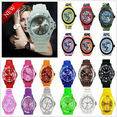 CANDY ICE.COLOR JELLY BOYS GIRLS MENS WOMENS MANS WRIST WATCH RUBBER SILICONE