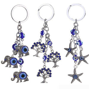 Jewelry Sets & More Blue Evil Eye Keychain Rhinestone Crystal Charm Pendant Purse Bag Keyring Gift Smooth Surface Finish