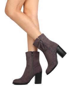 572da50d28 Alrisco Grape-2 Women Faux Suede Almond Toe Textured Tassel Chunky ...