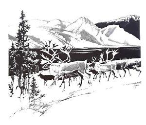 "Francis  Lee Jaques-""CARIBOU""- Wildlife Print-Offset Lithograph 11.5x7.5"