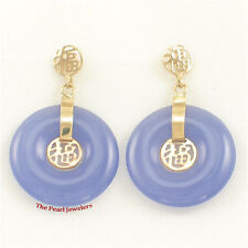 14k Solid Yellow Gold Blessing Dangles on Donut Shaped Lavender Jade Earrings