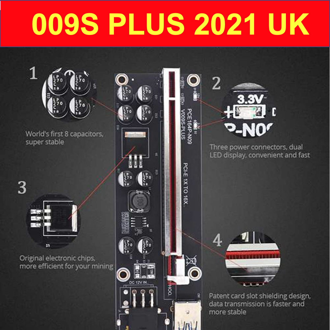 009S PLUS PCIE Riser Card PCIe 8 Capacitors LEDs 1 to 16 USB 3.0 Cable