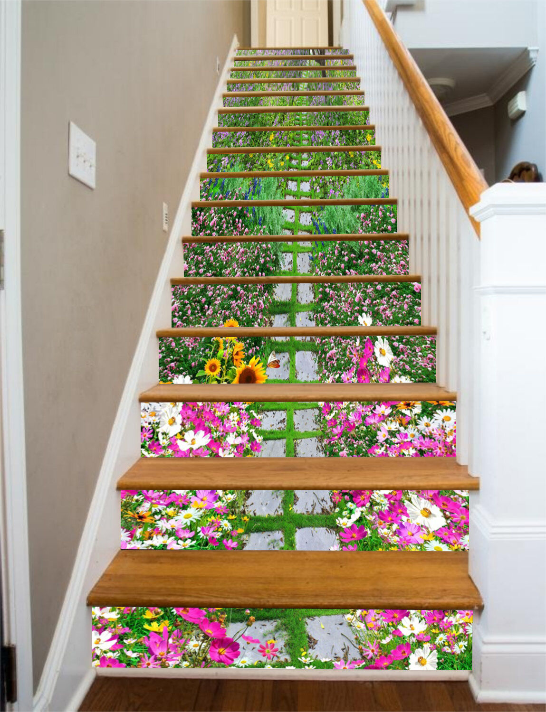 3D Flowers Road 8 Stair Risers Decoration Photo Mural Vinyl Decal Wallpaper CA
