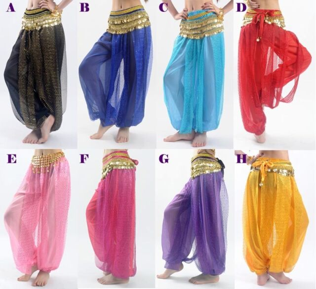 Belly Dance Tribal Costume Shinny Sequin Balloon Bloomers trousers& Harem Pants