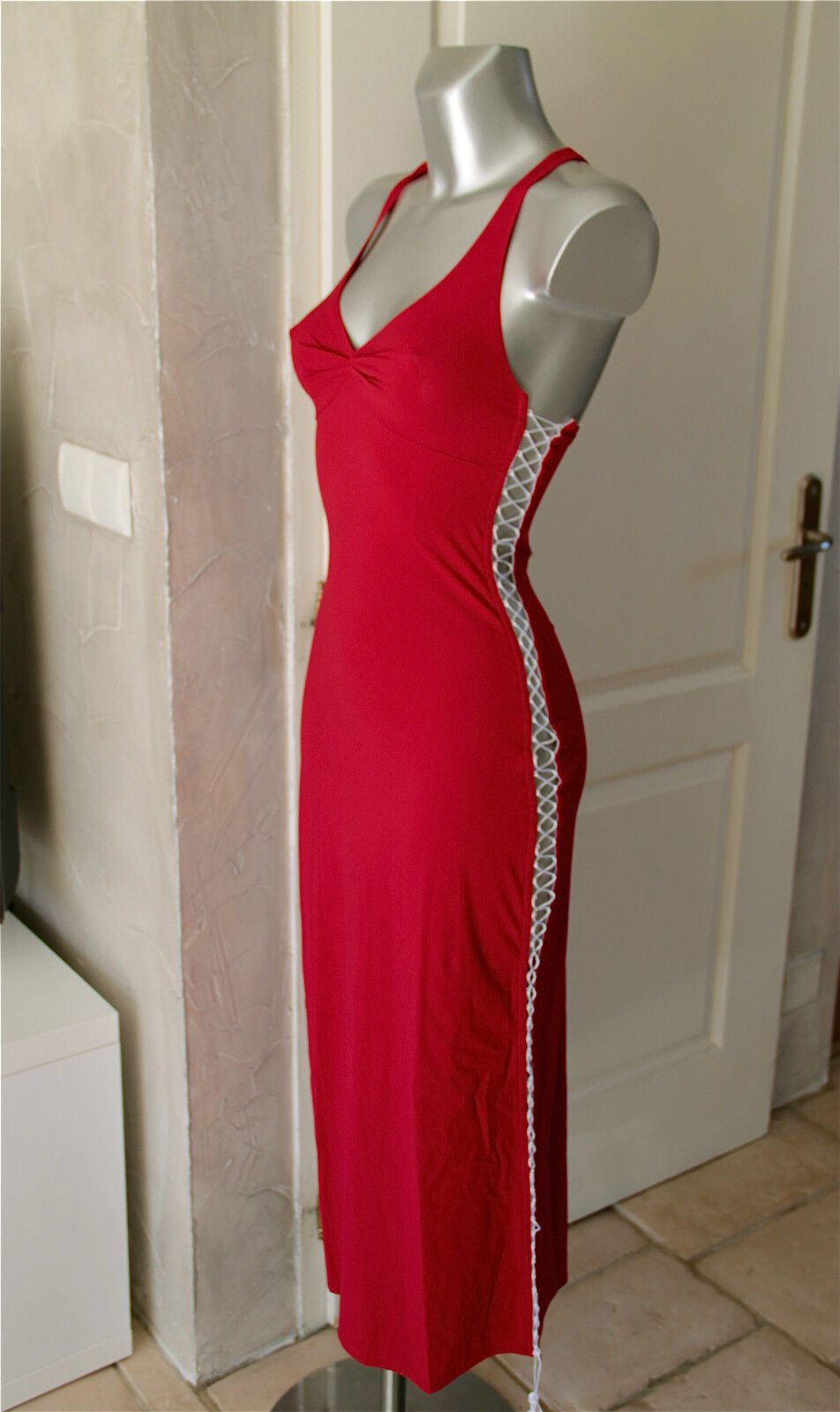 Dress laced lycra red luxe VANNINA VESPERINI size 38 NEW LABEL val