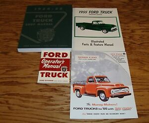 1955-Ford-Truck-Shop-Service-Manual-Owners-Manual-Sales-Brochure-Lot-of-4-55