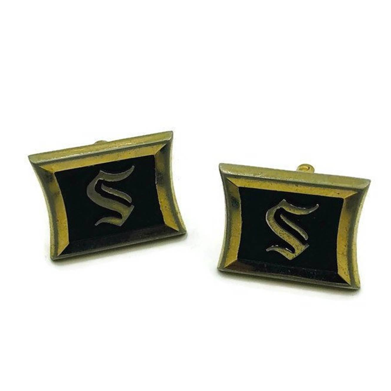 Vintage Black and Gold Monogramed Square Initial S Cuff Links Signed USA