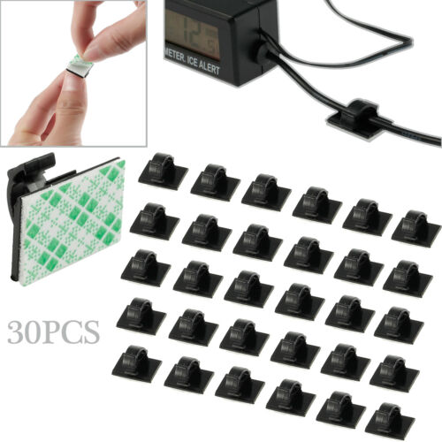 30PCS Mini Car Self Adhesive Wire Cable Clips Rectangle Tie Sticker Cord Holder