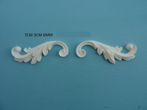 Decorative scrolls x 2 applique onlay resin furniture moulding 047A
