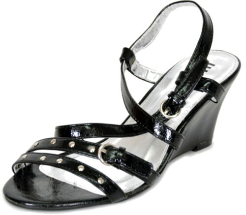 Vintage LACK Tiemchen Nieten Studded Keilabsatz Wedges Sandalen Rockabilly Emo