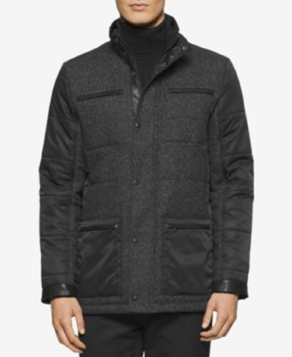 Pitch Klein Mixed Heather Pea Black New Calvin media Mens Coat Quilted 48dAnBqx