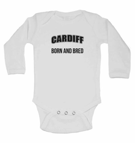 New Long Sleeve Cotton Baby Vests for Boys Cardiff Born and Bred Girls