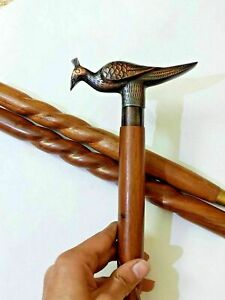 """Brass Silver Head Walking Stick Classic Style 37/"""" Wooden Cane Walking Stick Cane"""