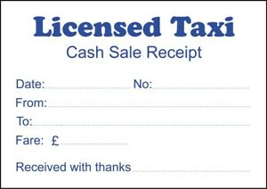 1 pad licensed taxi cash sale receipt 100 printed sheets ebay