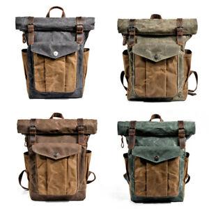 Water-Resisant-Vintage-Waxed-Canvas-Backpack-Fold-Over-Satchel-Laptop-Bag-Travel