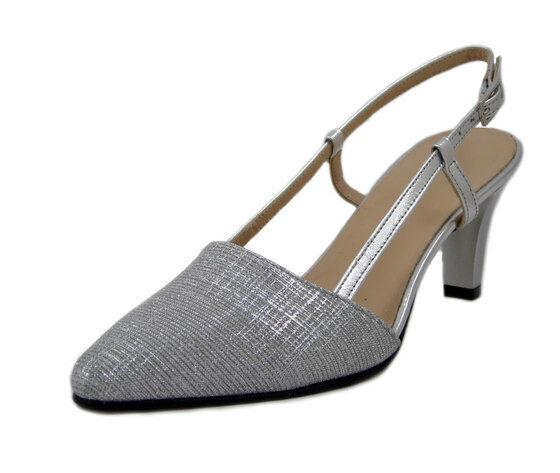 Scarpe Donna Eleganti Decolte Sabot in Pelle argentoo Tacco Medio Pianta Comoda