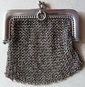 Bourse aumônière cote de maille en ARGENT massif 19e siècle silver bag 3TEujeui-09122731-986556336