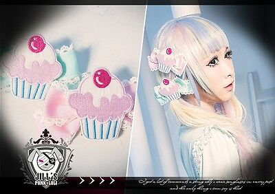 lolita fairy spank cartoon fantasy cherry mousse muffin ribbon bow hair clips