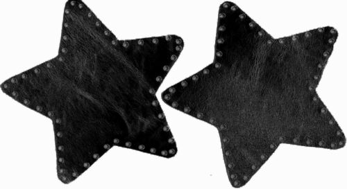 100/% LEATHER ELBOW PATCHES STAR SHAPED BLACK