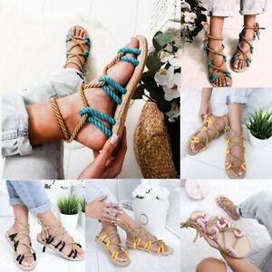 Summer-Women-Lady-Flat-Espadrille-Lace-Tie-up-Sandals-Platform-UK-Size-2-5-8-5