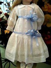 "ANTIQUE FRENCH DOLL DRESS WHITEWORK EMBROIDERY PINTUCKS 28"" BRU JUMEAU SFBJ"