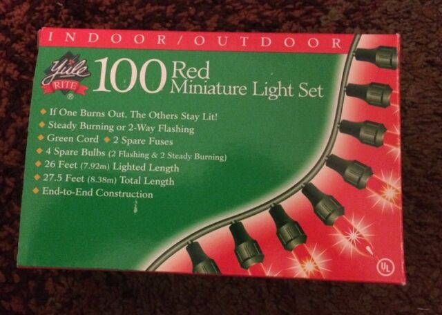 Yule Rite 100 Red Miniature Light Set With Green String - Yule Rite 100 Red Miniature Light Set With Green String EBay