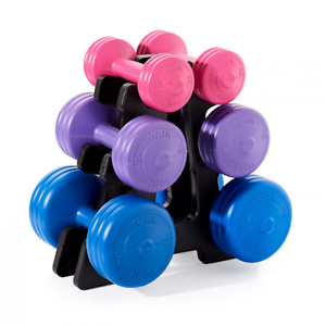 York Fitness Unisex Vinyl Dumbbell Set with Stand, Blue/Purple/Pink, 19 kg