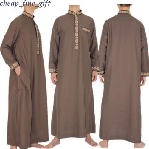 Dubai Men Arab Thobe Abaya Muslim Jubba Thoub Daffah Dishdasha Kaftan Abaya Robe