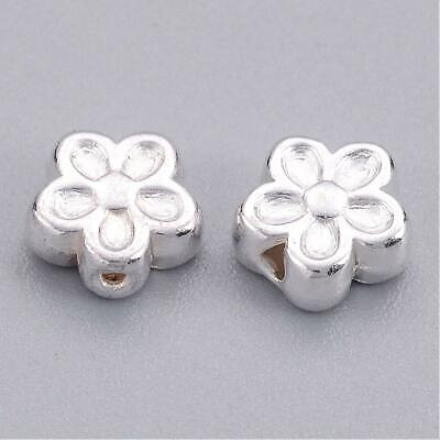 Rhodium Plated Alloy Large Hole Beads 6 x 11mm Silver//Pink 10 Pcs DIY Jewellery