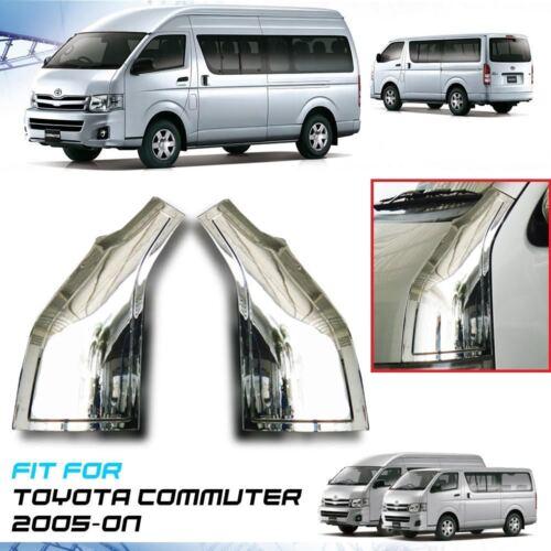 Chrome Plain Door Pillar Cover Trim ABS For Toyota Hiace Commuter 2005-On