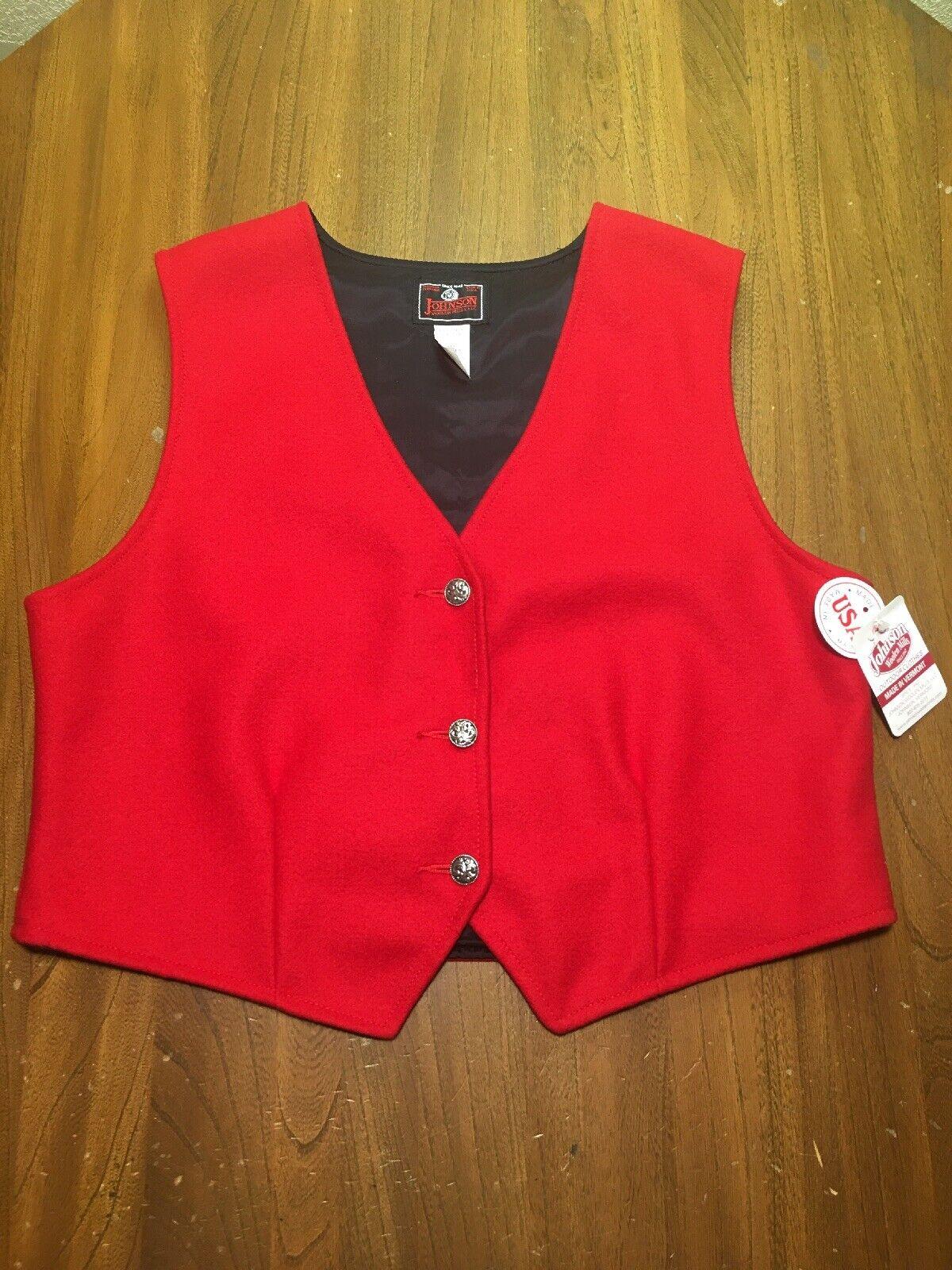 Johnson Woolen Woolen Woolen Mills Women's L Red Wool Blend Vest Made in USA  89 Retail ccb5cb