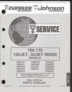 Details about 1993 EVINRUDE / JOHNSON 150, 175 / 105JET / QUIET RIDER  OUTBOARD PARTS MANUAL