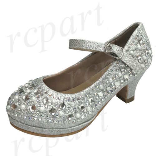 New girl/'s kids beads formal dress wedding shoes silver rhinestones buckle