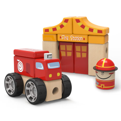 Top Bright Children's Wooden 19pc Building Block Toy Red Fire Station & Truck