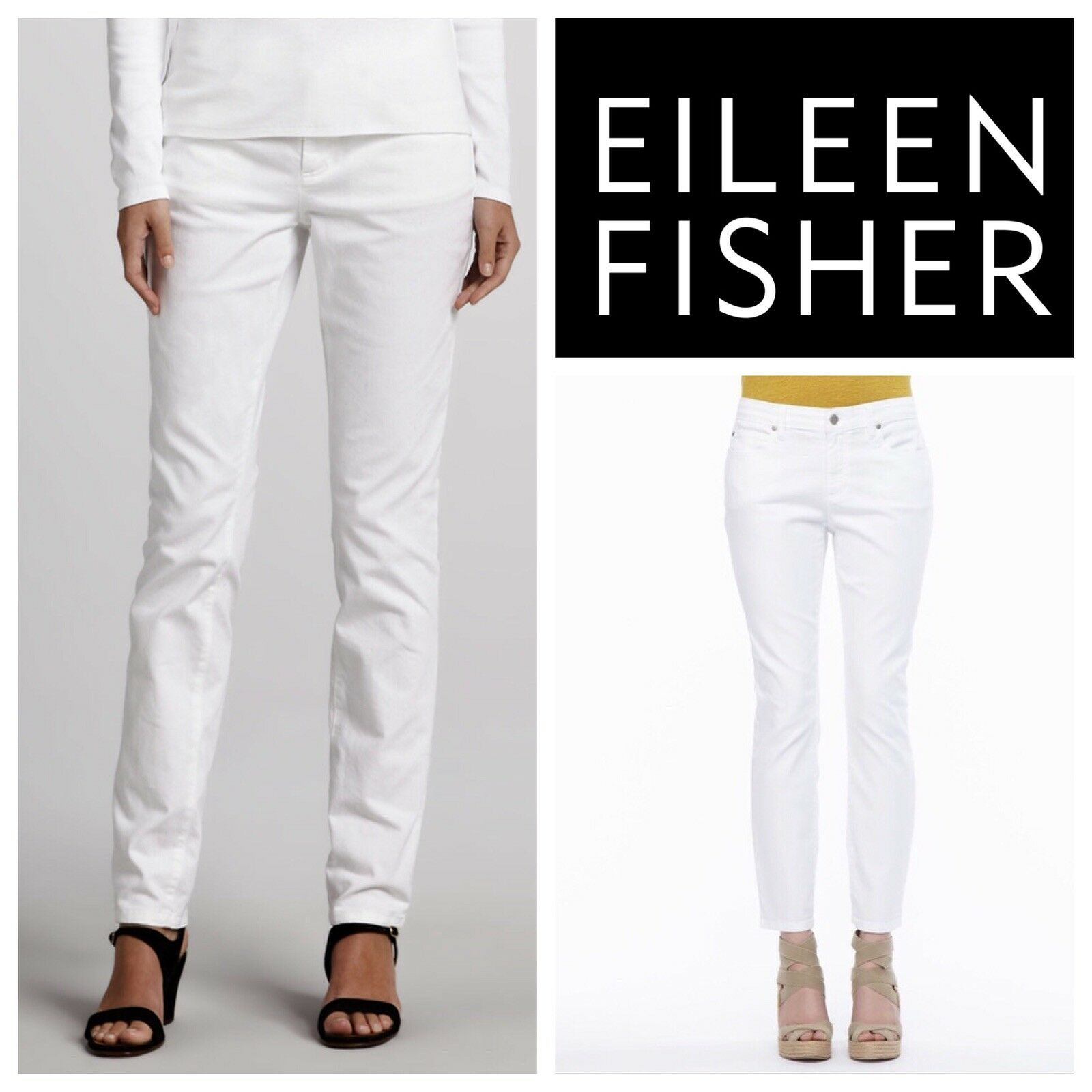 """Eileen Fisher  White Jeans Straight Pants Size 2 Waist 29"""""""