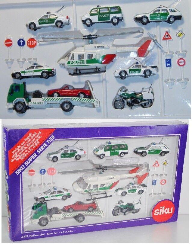Siku 6321 polizeiset MERCEDES C 220,vw t4, AUDI a6 Avant, BMW 320i, BK 117, Porsche