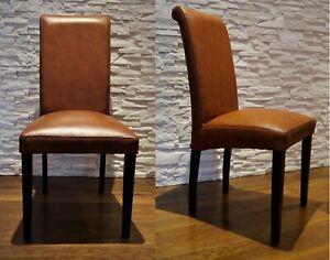 Italienische Leder Stuhle Esszimmer Echtleder Stuhl Lederstuhle Viele Farben Ebay