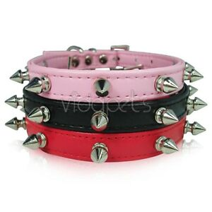 Leather-Spiked-Dog-Collar-XS-S-M-Small-Medium-Spikes