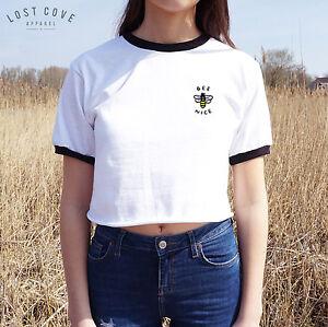 1d6f610a7dcf9 Bee Nice Crop Ringer Tee Top Shirt Grunge Funny Slogan Cute Positive ...
