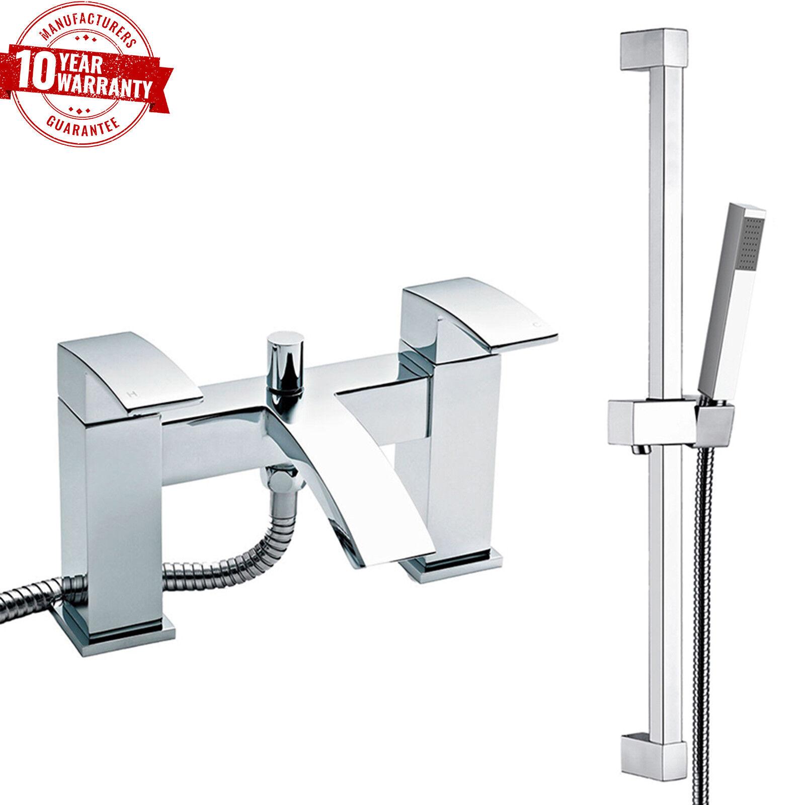 LUSSO PONTE moderno montato Chrome Miscelatore doccia bagno quadrato rubinetto con Rail Kit  C