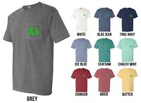 Kappa Delta Sorority Letters Comfort Colors Pocket Shirt -