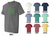 Kappa Delta Sorority Letters Comfort Colors Pocket Shirt -