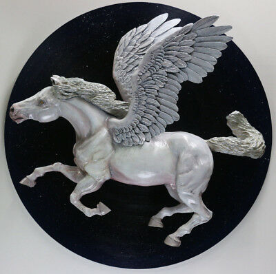 Pegasus Winged Horse Painted Wood Sculpture Figurine Carved Wall Art 30x30 Ebay