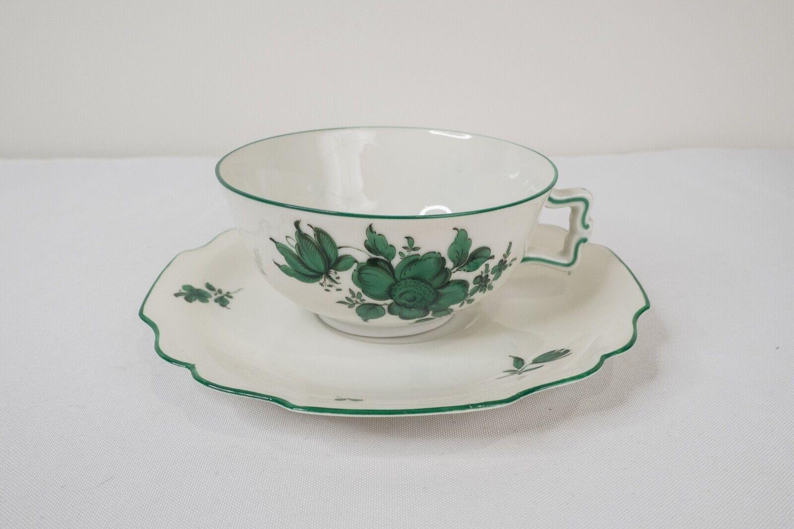 Image 1 - Augarten-Wien-Vienna-Maria-Theresia-Tea-Cup-amp-Saucer-Green-Trim-5098