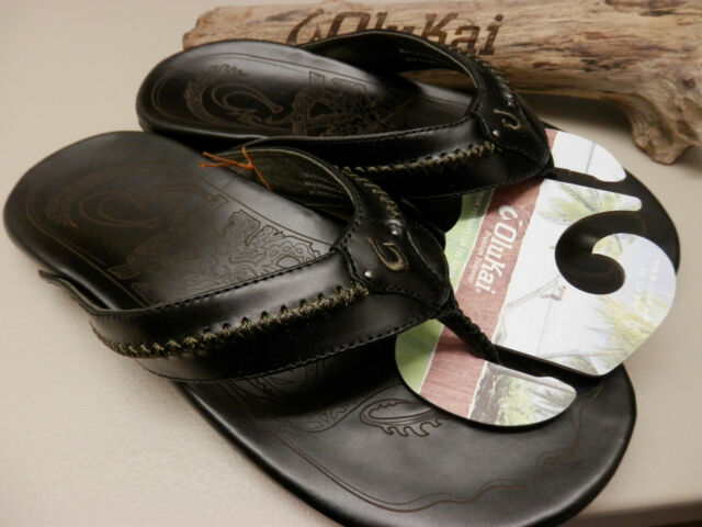 275ab477252b OluKai Mens Mea Ola Flip Flop Sandals Black 10138 4040 for sale ...