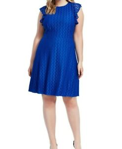 London-Times-Lace-Ruffle-Sleeve-Fit-And-Flare-Dress-Size-14W